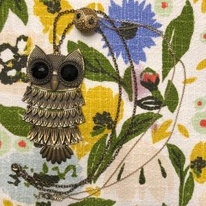 Owl Statement Necklace Pair Gold ModCloth Fossil